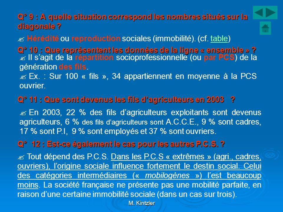 M. Kintzler Q° 9 : A quelle situation correspond les nombres situés sur la diagonale ? Hérédité ou reproduction sociales (immobilité). (cf. table)tabl