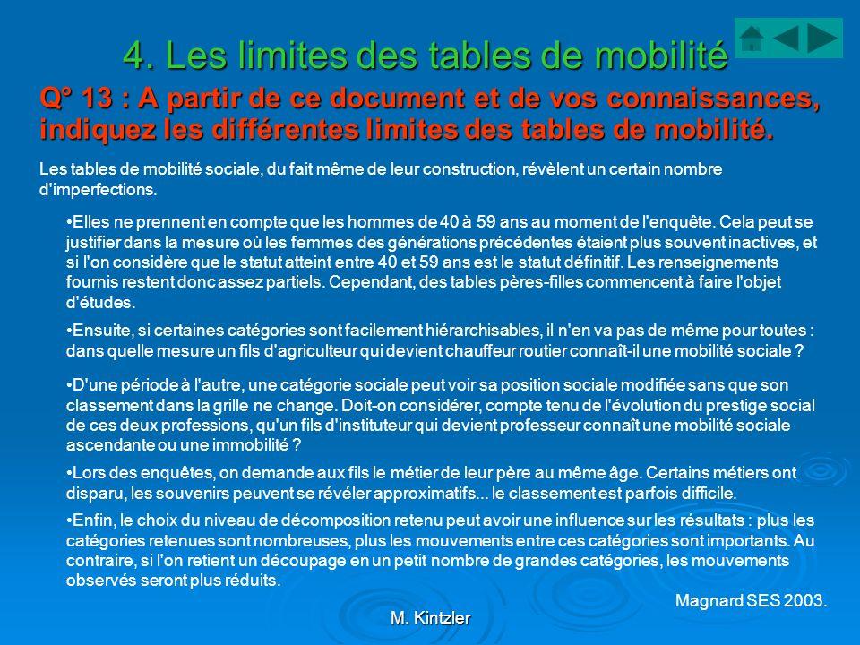M. Kintzler 4. Les limites des tables de mobilité Q° 13 : A partir de ce document et de vos connaissances, indiquez les différentes limites des tables
