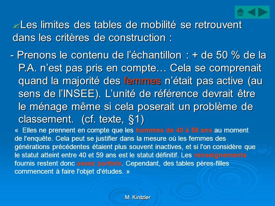 M. Kintzler Les limites des tables de mobilité se retrouvent dans les critères de construction : Les limites des tables de mobilité se retrouvent dans