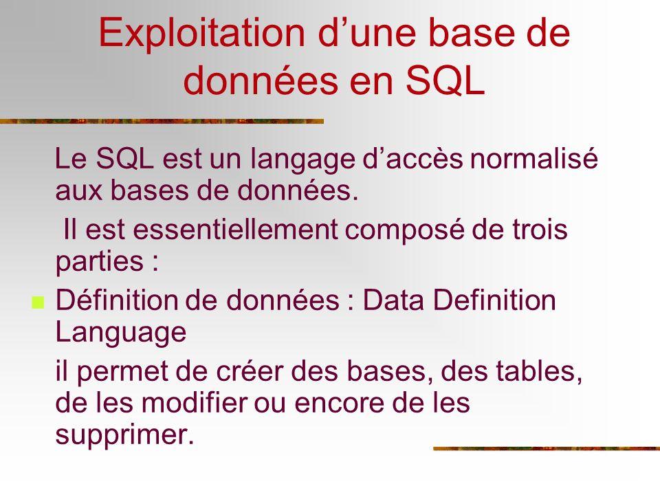 Exploitation dune base de données en SQL Le SQL est un langage daccès normalisé aux bases de données. Il est essentiellement composé de trois parties