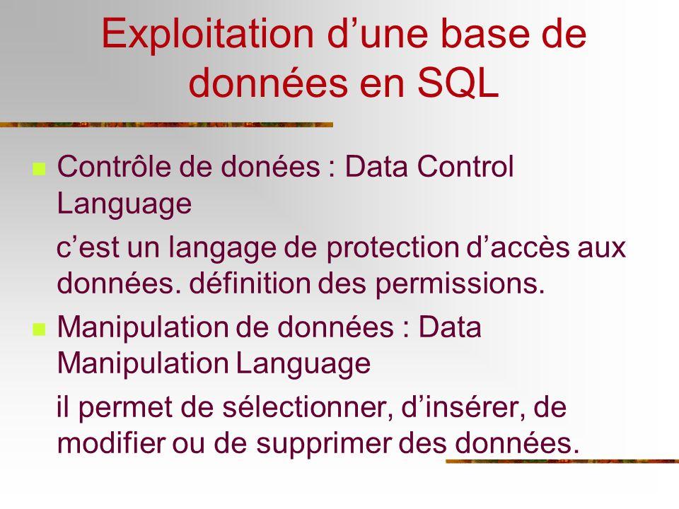 Exploitation dune base de données en SQL Contrôle de donées : Data Control Language cest un langage de protection daccès aux données. définition des p