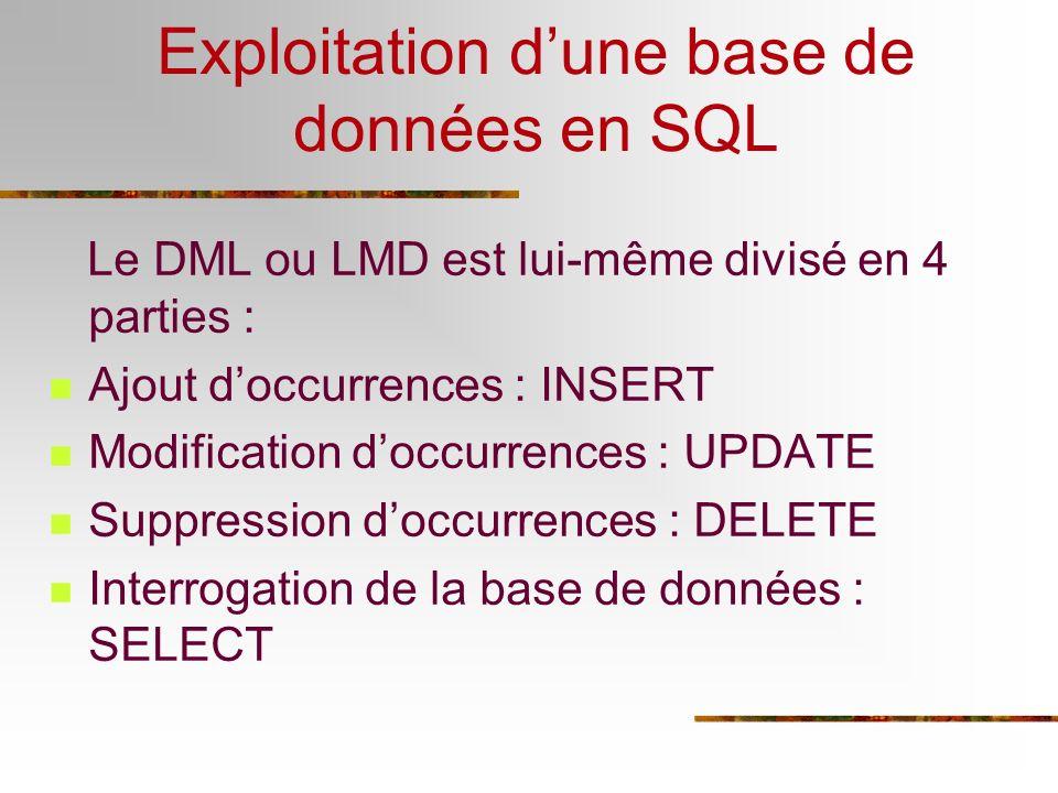 Exploitation dune base de données en SQL Le DML ou LMD est lui-même divisé en 4 parties : Ajout doccurrences : INSERT Modification doccurrences : UPDA