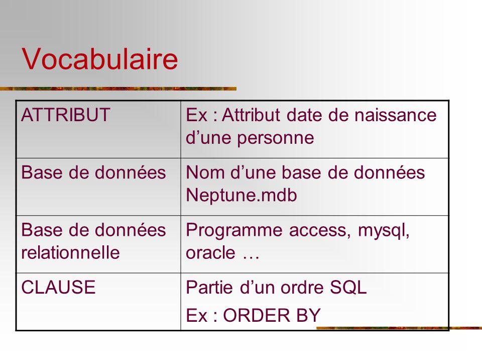 Vocabulaire ATTRIBUTEx : Attribut date de naissance dune personne Base de donnéesNom dune base de données Neptune.mdb Base de données relationnelle Pr