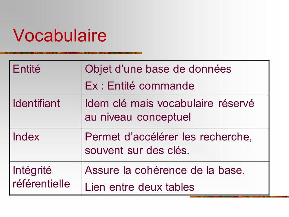 Vocabulaire EntitéObjet dune base de données Ex : Entité commande IdentifiantIdem clé mais vocabulaire réservé au niveau conceptuel IndexPermet daccél