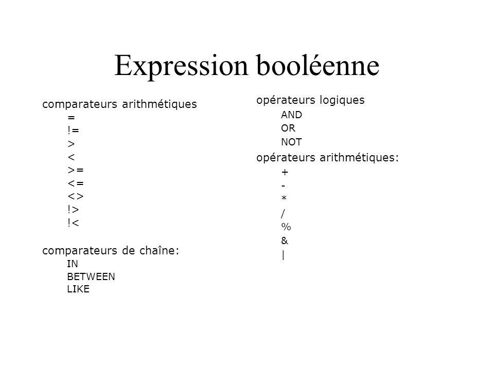 Expression booléenne opérateurs logiques AND OR NOT opérateurs arithmétiques: + - * / % & | comparateurs arithmétiques = != > < >= <= <> !> !< compara
