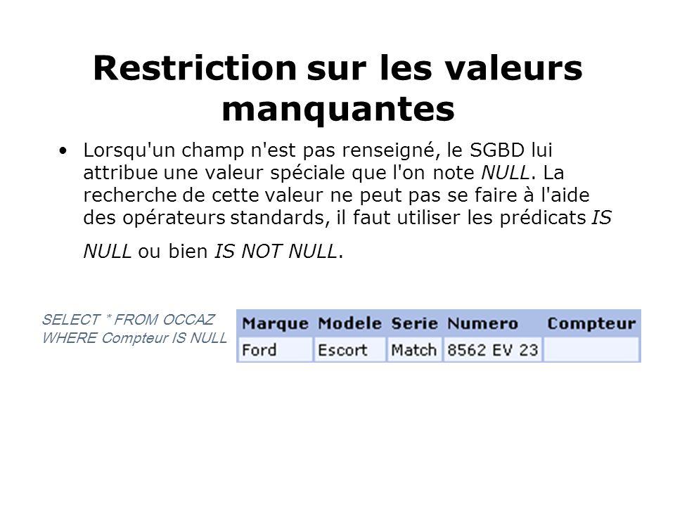 Restriction sur les valeurs manquantes Lorsqu'un champ n'est pas renseigné, le SGBD lui attribue une valeur spéciale que l'on note NULL. La recherche