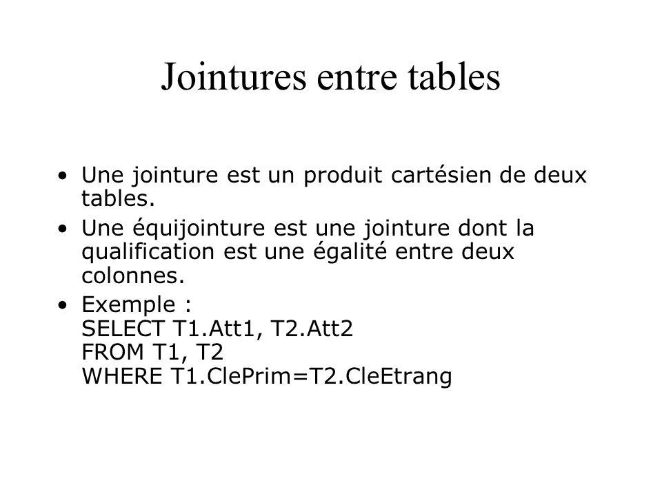 Jointures entre tables Une jointure est un produit cartésien de deux tables. Une équijointure est une jointure dont la qualification est une égalité e