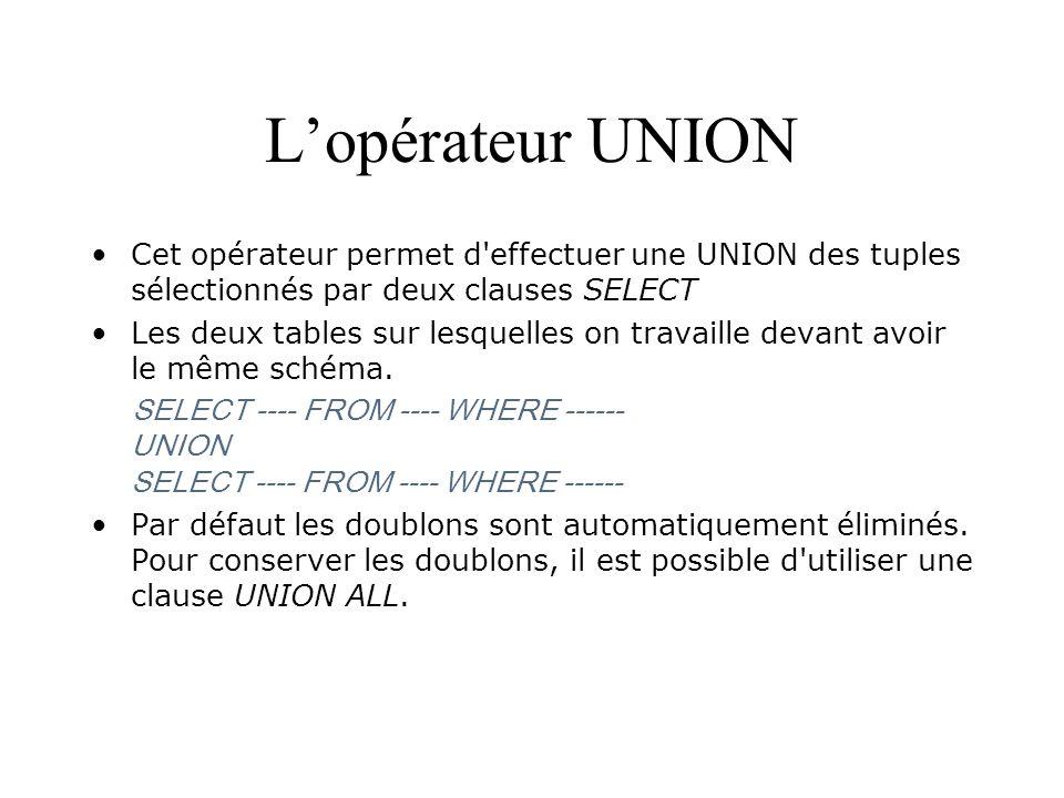 Lopérateur UNION Cet opérateur permet d'effectuer une UNION des tuples sélectionnés par deux clauses SELECT Les deux tables sur lesquelles on travaill
