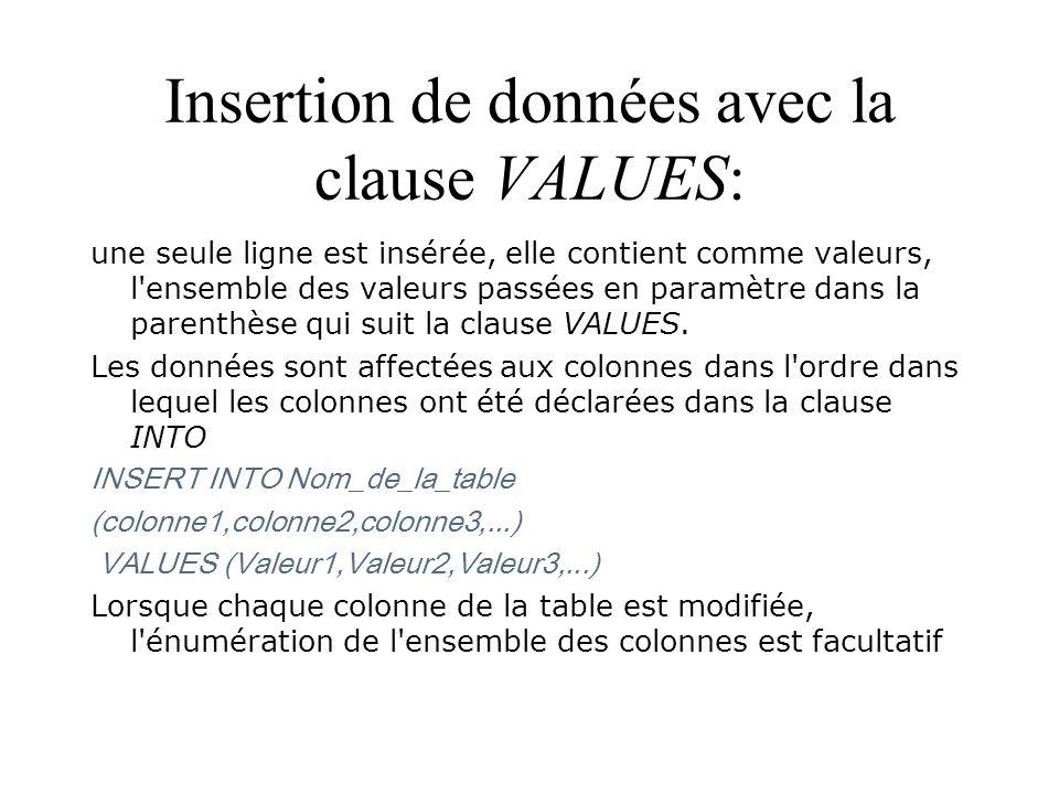 Insertion de données avec la clause VALUES: une seule ligne est insérée, elle contient comme valeurs, l'ensemble des valeurs passées en paramètre dans