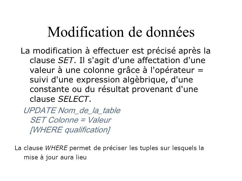 Modification de données La modification à effectuer est précisé après la clause SET. Il s'agit d'une affectation d'une valeur à une colonne grâce à l'