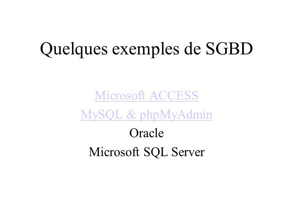 Quelques exemples de SGBD Microsoft ACCESS MySQL & phpMyAdmin Oracle Microsoft SQL Server