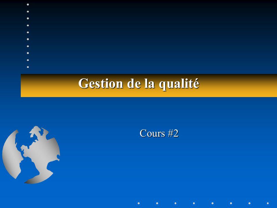 Gestion de la qualité (ADM-1069)62 (ADM-1069)62 Cartes, exemple 4 … Carte X LSC = 12,835 LIC = 11,765 X = 12,3 Carte E LSC = 1,673 LIC = 0,000 E = 0,7333