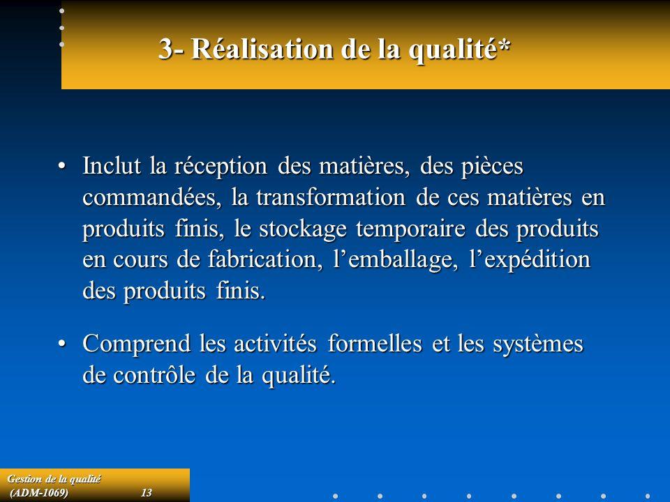 Gestion de la qualité (ADM-1069)13 (ADM-1069)13 3- Réalisation de la qualité* Inclut la réception des matières, des pièces commandées, la transformation de ces matières en produits finis, le stockage temporaire des produits en cours de fabrication, lemballage, lexpédition des produits finis.Inclut la réception des matières, des pièces commandées, la transformation de ces matières en produits finis, le stockage temporaire des produits en cours de fabrication, lemballage, lexpédition des produits finis.