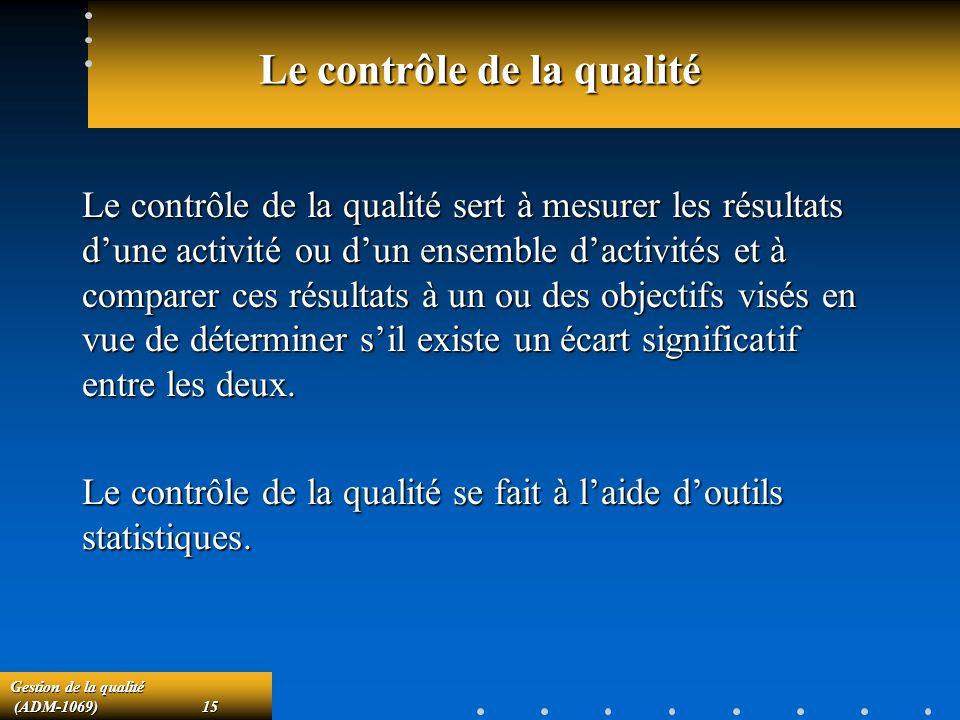 Gestion de la qualité (ADM-1069)15 (ADM-1069)15 Le contrôle de la qualité Le contrôle de la qualité sert à mesurer les résultats dune activité ou dun ensemble dactivités et à comparer ces résultats à un ou des objectifs visés en vue de déterminer sil existe un écart significatif entre les deux.