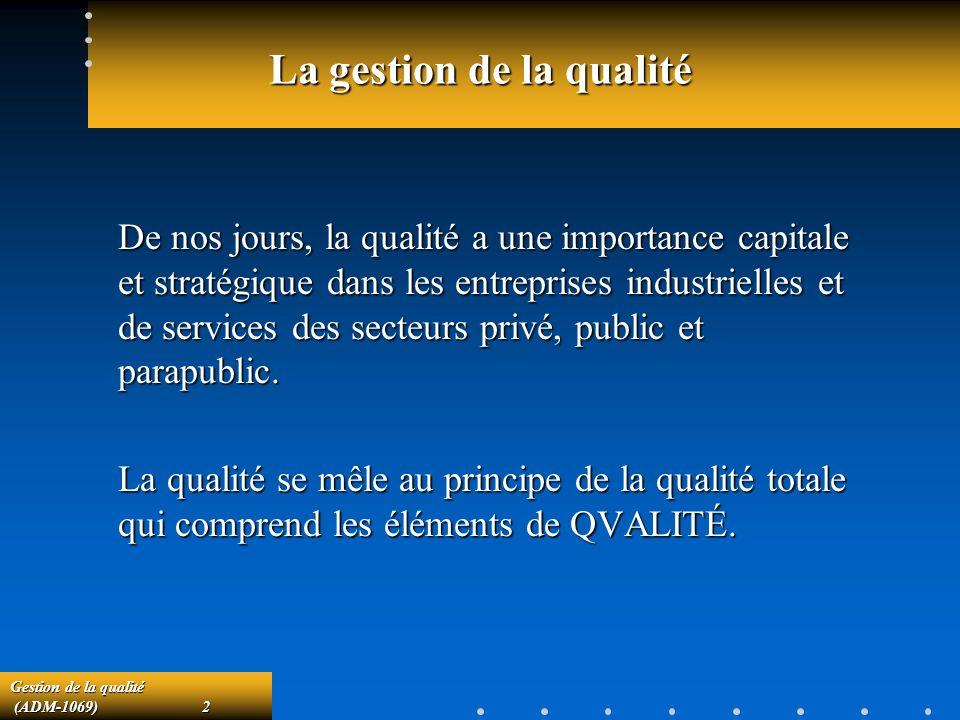 Gestion de la qualité (ADM-1069)43 (ADM-1069)43 Exemple 2 (suite) Si le client spécifie que son niveau de qualité toléré (NQT) est de 10%, quel est le risque daccepter un lot dune telle qualité?Si le client spécifie que son niveau de qualité toléré (NQT) est de 10%, quel est le risque daccepter un lot dune telle qualité.