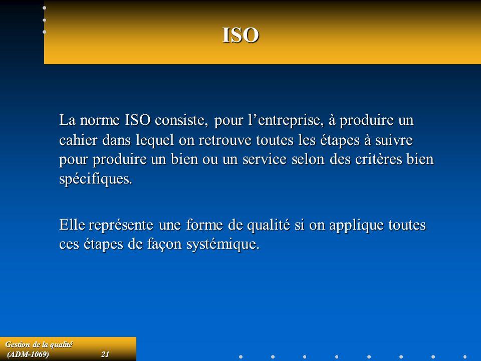 Gestion de la qualité (ADM-1069)21 (ADM-1069)21 ISO La norme ISO consiste, pour lentreprise, à produire un cahier dans lequel on retrouve toutes les étapes à suivre pour produire un bien ou un service selon des critères bien spécifiques.