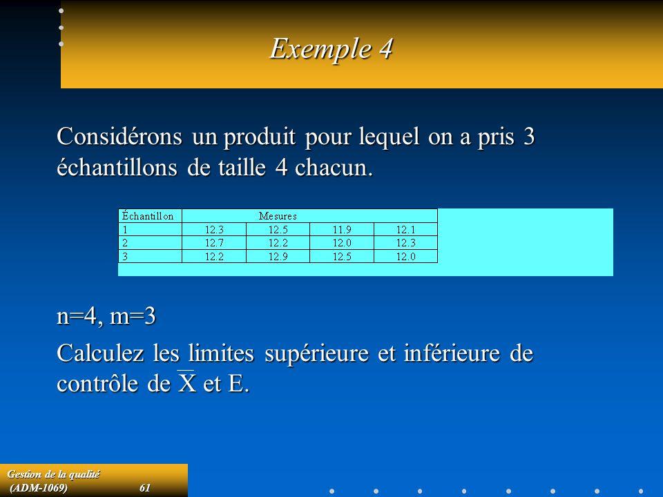 Gestion de la qualité (ADM-1069)61 (ADM-1069)61 Exemple 4 Considérons un produit pour lequel on a pris 3 échantillons de taille 4 chacun.