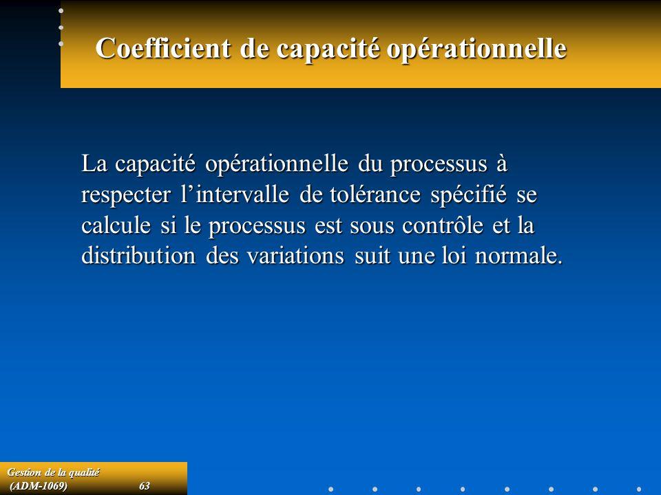 Gestion de la qualité (ADM-1069)63 (ADM-1069)63 Coefficient de capacité opérationnelle La capacité opérationnelle du processus à respecter lintervalle de tolérance spécifié se calcule si le processus est sous contrôle et la distribution des variations suit une loi normale.