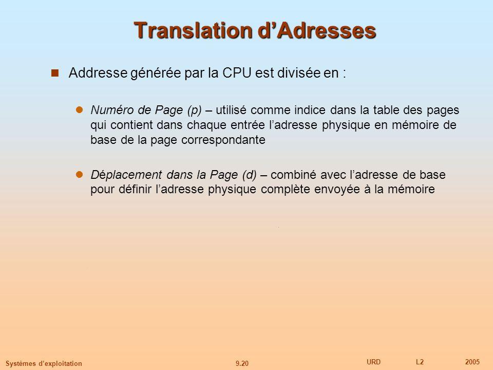 9.20 URDL22005 Systèmes dexploitation Translation dAdresses Addresse générée par la CPU est divisée en : Numéro de Page (p) – utilisé comme indice dans la table des pages qui contient dans chaque entrée ladresse physique en mémoire de base de la page correspondante Déplacement dans la Page (d) – combiné avec ladresse de base pour définir ladresse physique complète envoyée à la mémoire