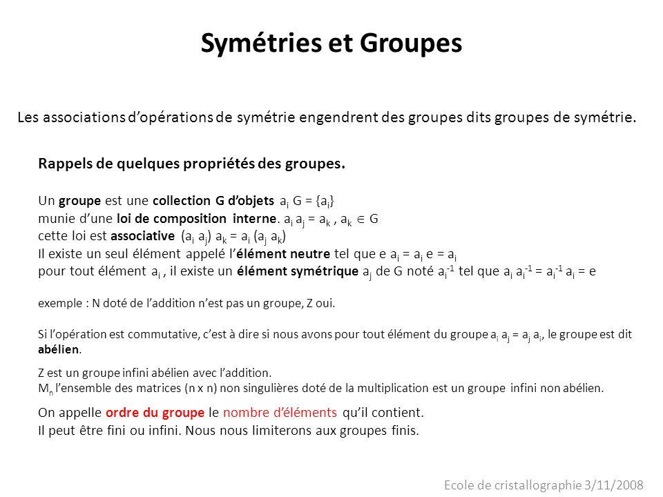 Ecole de cristallographie 3/11/2008 Symétries et Groupes Les associations dopérations de symétrie engendrent des groupes dits groupes de symétrie. Rap