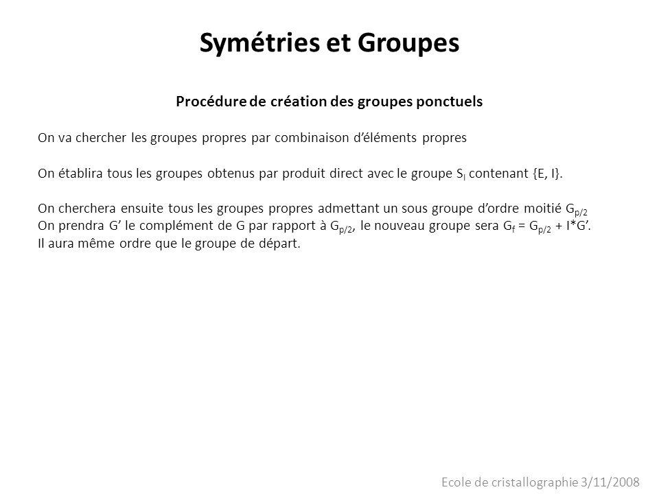 Ecole de cristallographie 3/11/2008 Symétries et Groupes Procédure de création des groupes ponctuels On va chercher les groupes propres par combinaiso