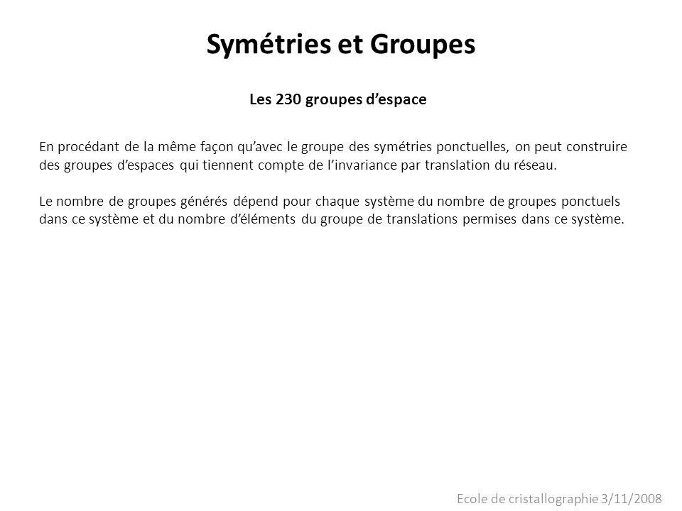 Ecole de cristallographie 3/11/2008 Symétries et Groupes Les 230 groupes despace En procédant de la même façon quavec le groupe des symétries ponctuel