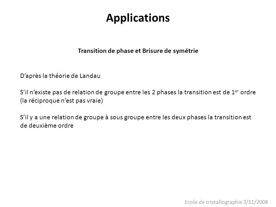 Ecole de cristallographie 3/11/2008 Applications Transition de phase et Brisure de symétrie Daprès la théorie de Landau Sil nexiste pas de relation de