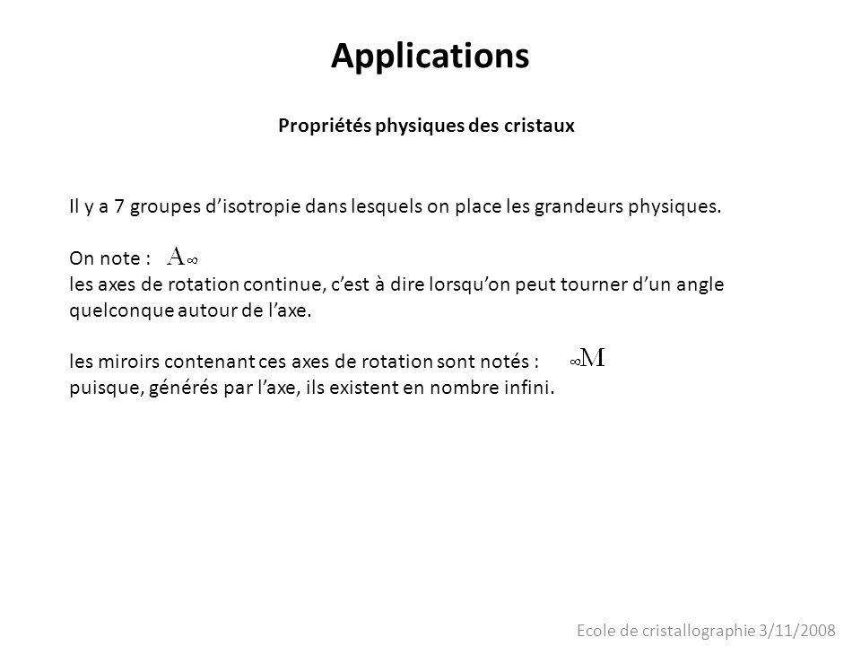Ecole de cristallographie 3/11/2008 Applications Propriétés physiques des cristaux Il y a 7 groupes disotropie dans lesquels on place les grandeurs ph