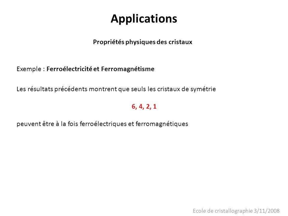 Ecole de cristallographie 3/11/2008 Applications Propriétés physiques des cristaux Exemple : Ferroélectricité et Ferromagnétisme Les résultats précéde