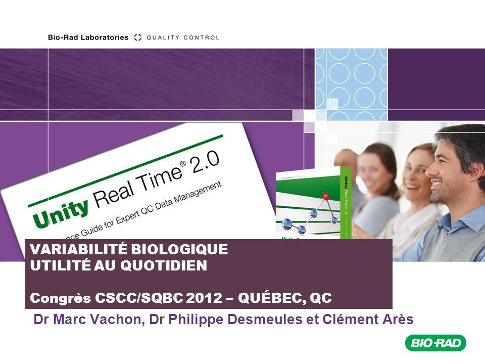 2011_10/Sales Support France/ QSD Logiciels /JBR/ Formation URT2 VARIABILITÉ BIOLOGIQUE Variabilité biologique intra individuelle: Établissement de ces valeurs en faisant des mesures de chacun des paramètres biochimiques dans le sang chez le même individu à plusieurs reprises ( 4).