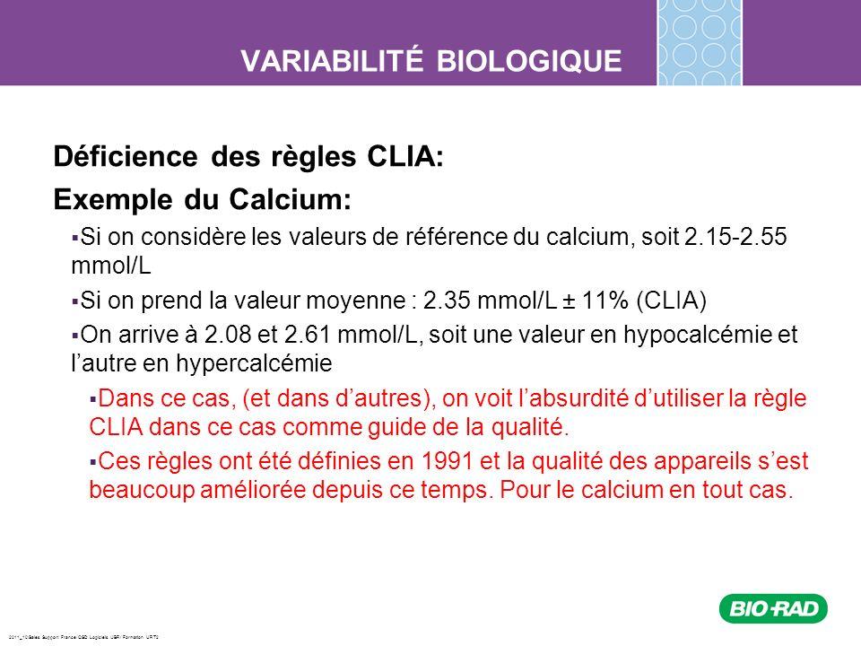 2011_10/Sales Support France/ QSD Logiciels /JBR/ Formation URT2 VARIABILITÉ BIOLOGIQUE Déficience des règles CLIA: Exemple du Calcium: Si on considèr