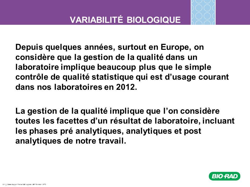 2011_10/Sales Support France/ QSD Logiciels /JBR/ Formation URT2 Les CVi présentés dans la base de données de Ricos sont parfois une médiane de plusieurs études portant sur une analyse sans égard aux groupes étudiés (pathologie ou non, short term vs long term) Dans les cas où le CVi dune analyse est près de celle du CVa, il est préférable de choisir un CVi qui nous semble le plus adéquat La base de données de Ricos sur le site de Westgard: Limitations