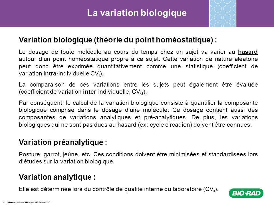 2011_10/Sales Support France/ QSD Logiciels /JBR/ Formation URT2 La variation biologique Variation biologique (théorie du point homéostatique) : Le do