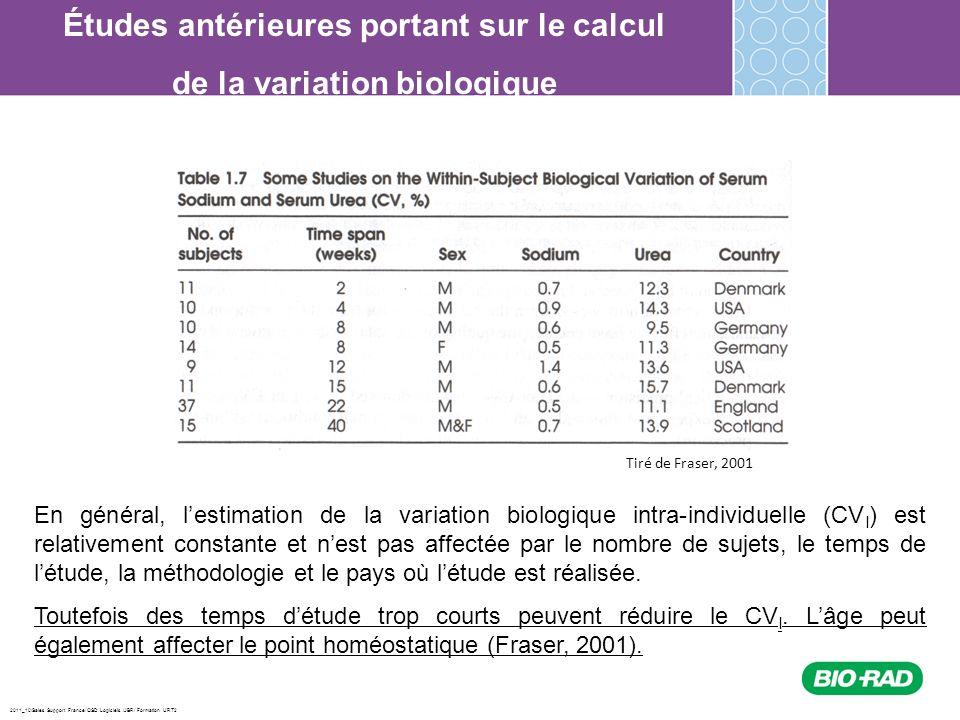2011_10/Sales Support France/ QSD Logiciels /JBR/ Formation URT2 Études antérieures portant sur le calcul de la variation biologique En général, lesti