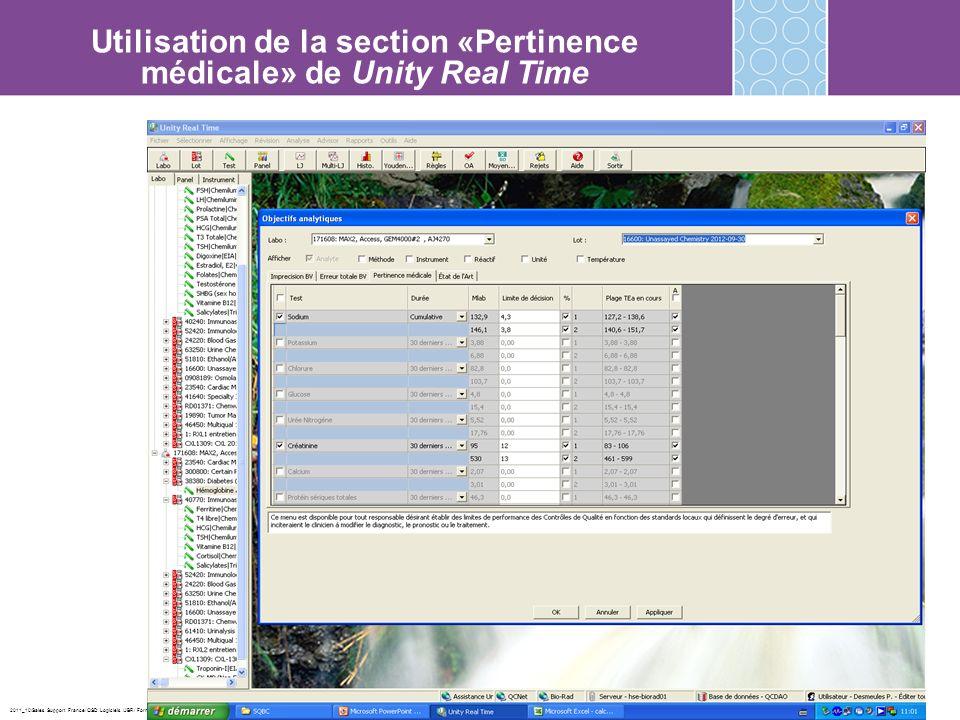 2011_10/Sales Support France/ QSD Logiciels /JBR/ Formation URT2 Utilisation de la section «Pertinence médicale» de Unity Real Time
