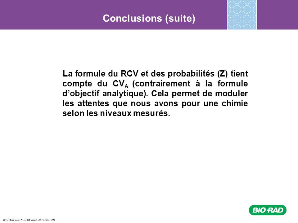 2011_10/Sales Support France/ QSD Logiciels /JBR/ Formation URT2 La formule du RCV et des probabilités (Z) tient compte du CV A (contrairement à la fo