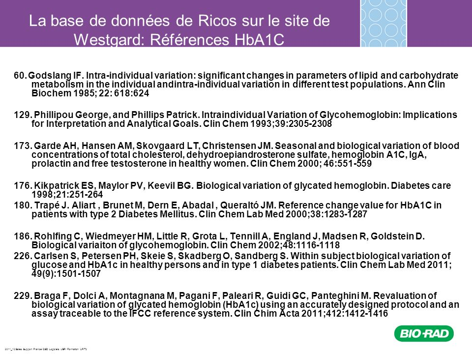 2011_10/Sales Support France/ QSD Logiciels /JBR/ Formation URT2 60. Godslang IF. Intra-individual variation: significant changes in parameters of lip