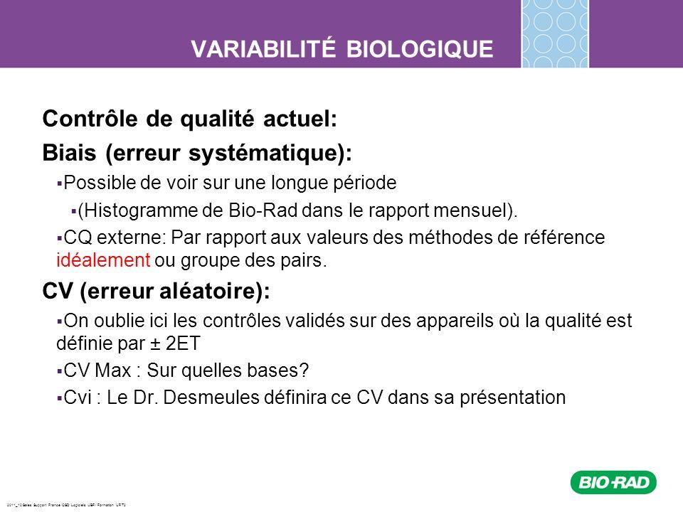 2011_10/Sales Support France/ QSD Logiciels /JBR/ Formation URT2 Ils déterminent un nouvel intervalle de confiance pour les valeurs de contrôle en sappuyant par ordre de priorité sur : La pertinence médicale Les variations biologiques Létat de lart Comment fonctionnent les Objectifs Analytiques Les valeurs nécessaires (moyenne et CV des pairs) pour le calcul des objectifs analytiques sont intégrées automatiquement dans le logiciel Unity Real Time par les mises à jour mensuelles.