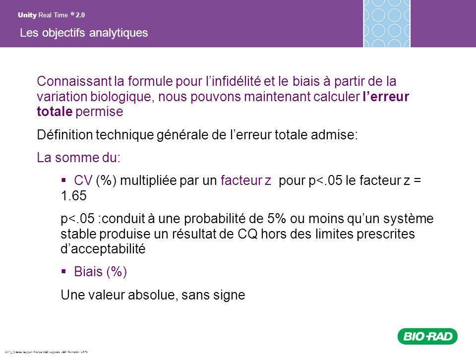 2011_10/Sales Support France/ QSD Logiciels /JBR/ Formation URT2 Connaissant la formule pour linfidélité et le biais à partir de la variation biologiq
