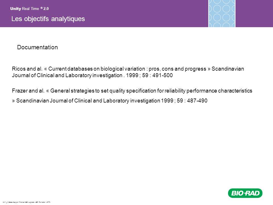 2011_10/Sales Support France/ QSD Logiciels /JBR/ Formation URT2 Documentation Ricos and al. « Current databases on biological variation : pros, cons