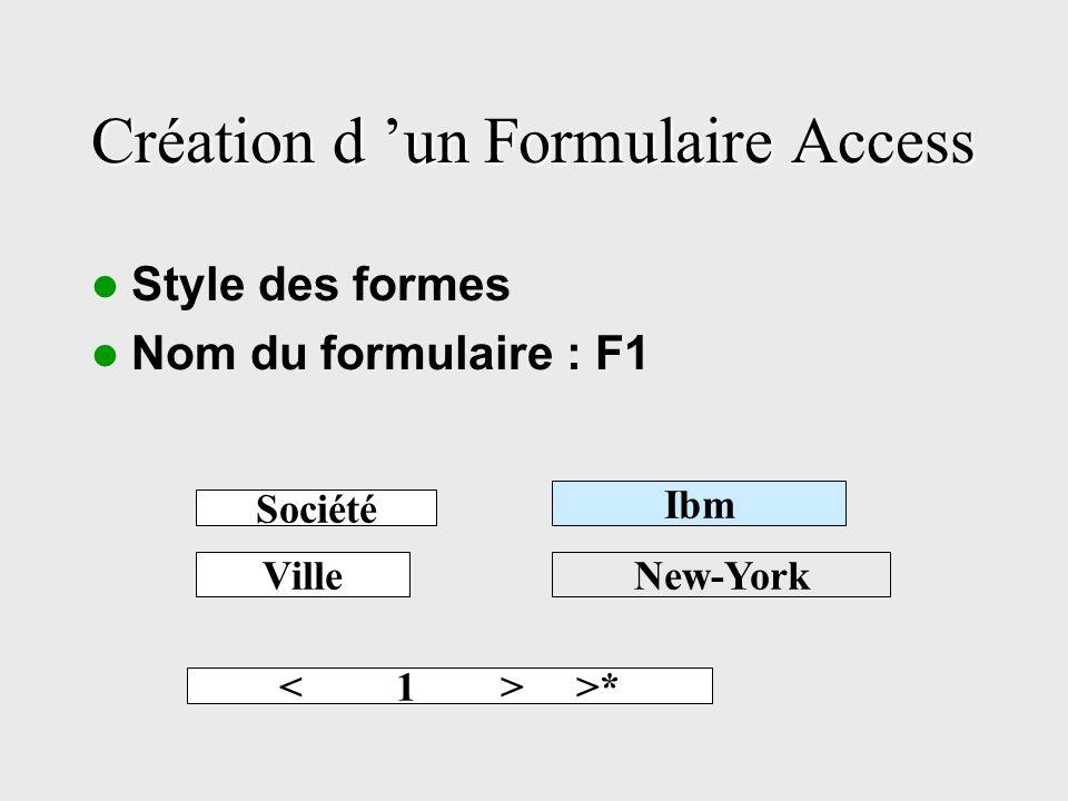 Création d un Formulaire Access Style des formes Nom du formulaire : F1 Société Ibm VilleNew-York >*