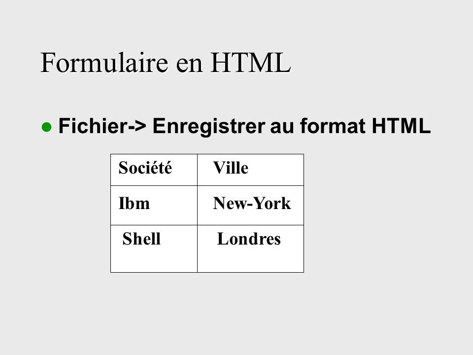 Formulaire en HTML Fichier-> Enregistrer au format HTML SociétéVille IbmNew-York Shell Londres