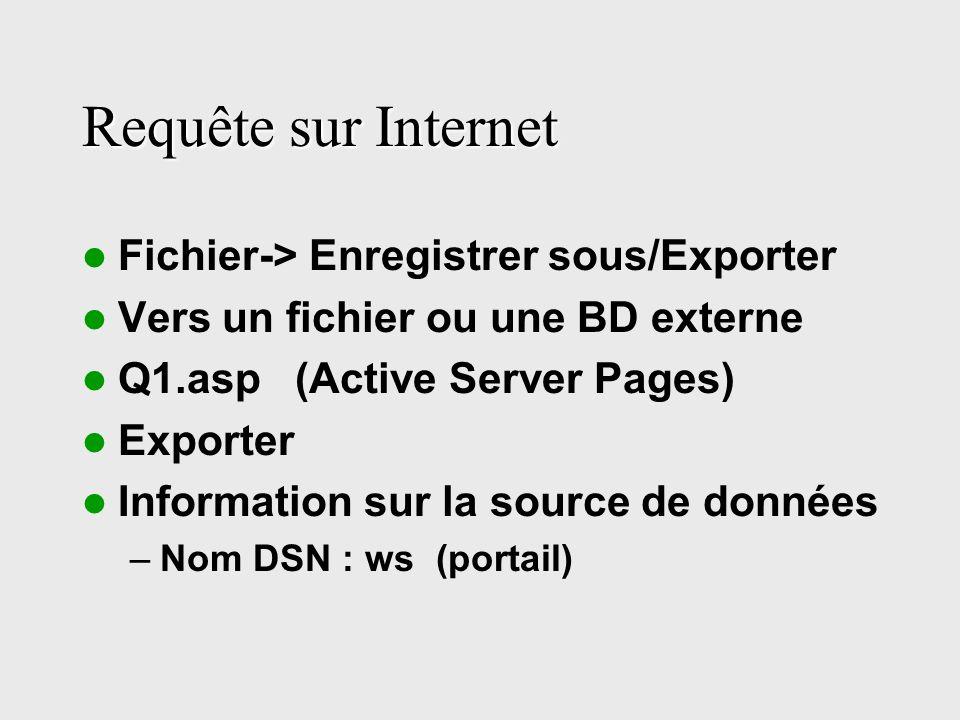Requête sur Internet Fichier-> Enregistrer sous/Exporter Vers un fichier ou une BD externe Q1.asp (Active Server Pages) Exporter Information sur la source de données –Nom DSN : ws (portail)