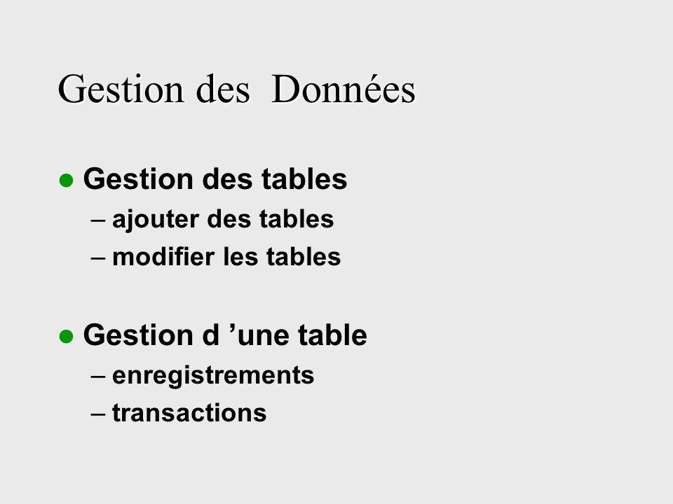 Gestion des Données Gestion des tables –ajouter des tables –modifier les tables Gestion d une table –enregistrements –transactions