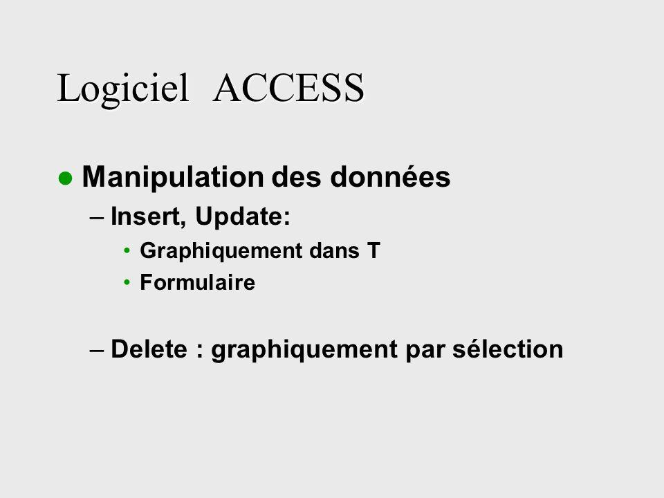 Logiciel ACCESS Manipulation des données –Insert, Update: Graphiquement dans T Formulaire –Delete : graphiquement par sélection