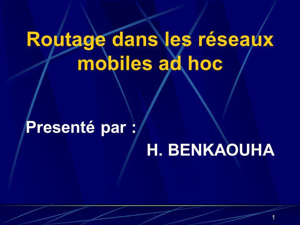 1 Routage dans les réseaux mobiles ad hoc Presenté par : H. BENKAOUHA