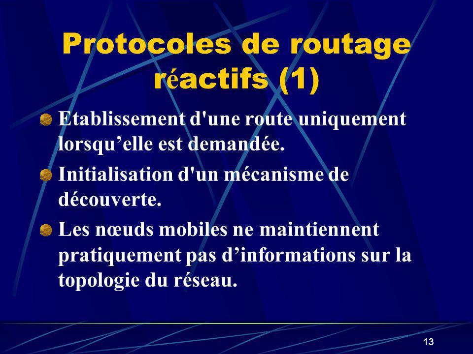 13 Protocoles de routage r é actifs (1) Etablissement d'une route uniquement lorsquelle est demandée. Initialisation d'un mécanisme de découverte. Les