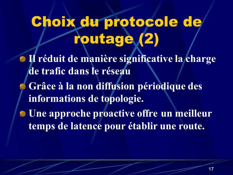 17 Choix du protocole de routage (2) Il réduit de manière significative la charge de trafic dans le réseau Grâce à la non diffusion périodique des inf