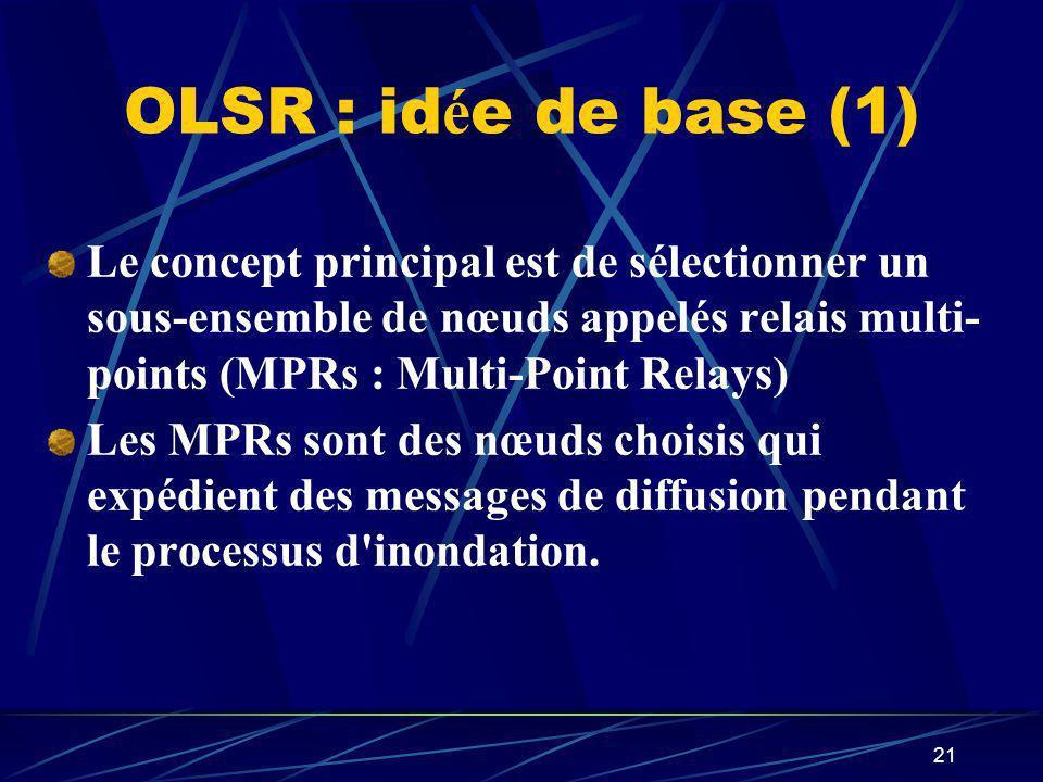 21 OLSR : id é e de base (1) Le concept principal est de sélectionner un sous-ensemble de nœuds appelés relais multi- points (MPRs : Multi-Point Relay