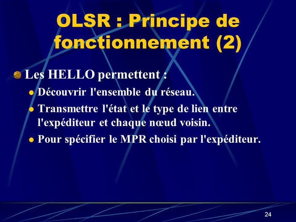 24 OLSR : Principe de fonctionnement (2) Les HELLO permettent : Découvrir l'ensemble du réseau. Transmettre l'état et le type de lien entre l'expédite